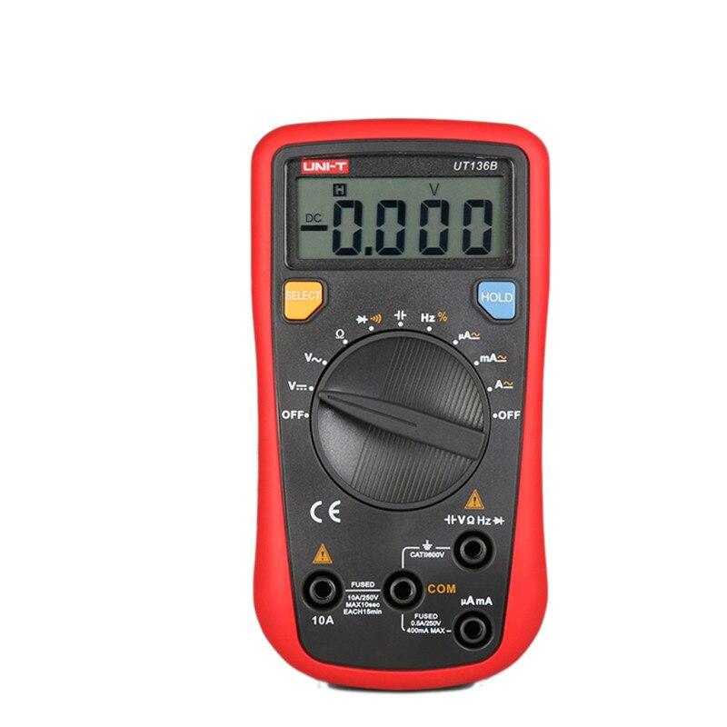 Multímetro UNI-T UT136B Auto Faixa de Multímetro Digital AC DC Tensão Corrente Ohm Multimetro Cap Diodo Hz Tipos de Medição