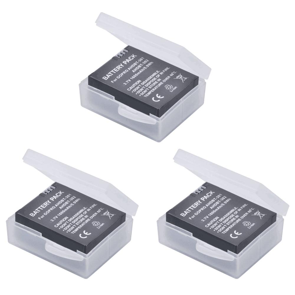 3 pcs 1600 mAh GoPro AHDBT-301 Li-ion Batterie AHDBT 301 AHDBT301 GoPro HD HERO3/3 + et GoPro AHDBT-201/AHDBT-301/AHDBT-302