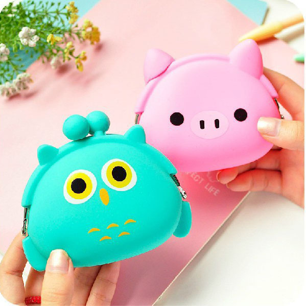 16Styles Storage Bags Korea Cute Mini Coin Purse Soft Side Buckle Female Gift Coin Bag Cartoon Silicone Hand Holding Coin Pocket