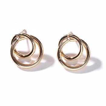 Stud Earrings Women Double Round Geometric Earring Fashion Jewelry  2