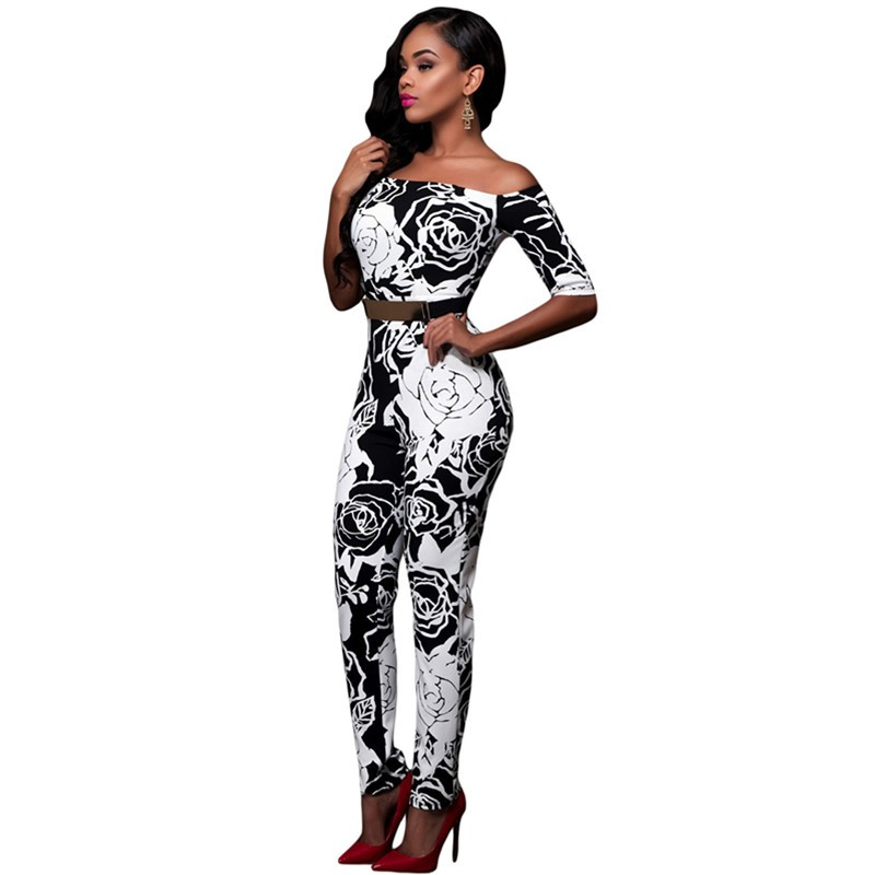 Monochrome-Rose-Print-Belted-Off-Shoulder-Jumpsuit-LC64179-4