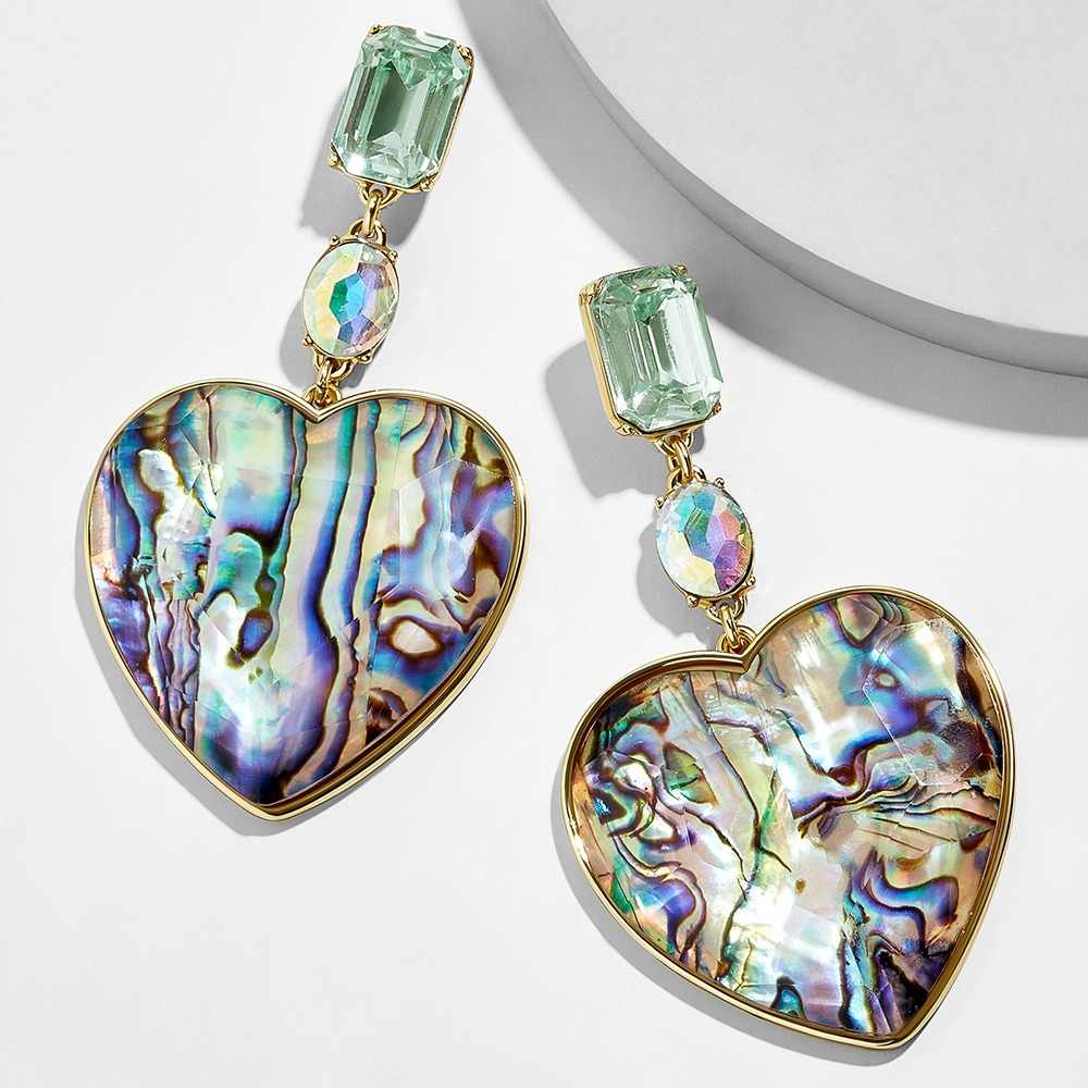 Bohemian Multicolor Acrylic Lovery Heart Dangle Earring For Women Trendy Rhinestone Abalone Shell Statement Wedding Jewelry Gift