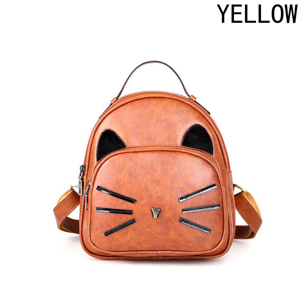 Cartoon Cat Pattern Backpack 2018 Womens Faux Leather Travel School Bag Boys And Girls Backbag