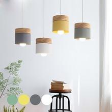 Современный подвесной светильник со светодиодами, деревянный железный светильник для столовой, кафе, ресторана, скандинавского интерьера, деревянный цилиндр, подвесной светильник, домашний деко