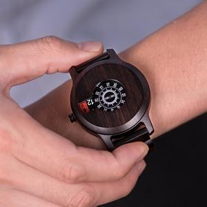 Image 5 - BOBO VOGEL Marke Holz Uhr Ebenholz Spezielle Zifferblatt Anzeige Quarz Zeitmesser Minimalistischen Design erkek kol saati J R26