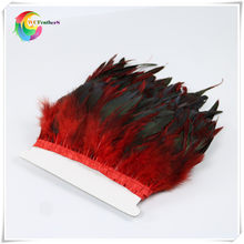 "wholesale 2 Yards long 6-8""inch width natural Rooster Feather Fringe Dyed red with Satin Ribbon Tape for skirt(China)"