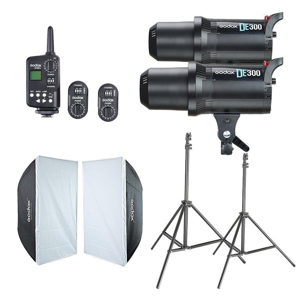 2x Godox DE300 Studio Flash + 60x90 cm Softbox + FT-16 Trigger + Lumière Stand Kit