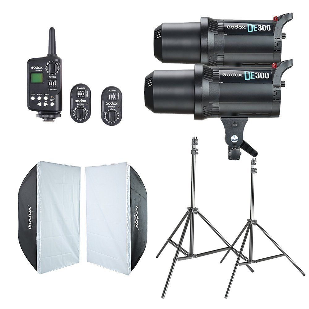 2x Godox DE300 Studio Flash + 60x90 cm Softbox + FT-16 Trigger + Lumière Stand Kit
