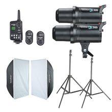 2x Godox DE300 Estúdio Flash + 60×90 cm Softbox + PÉ-16 Gatilho + Kit Suporte de Luz