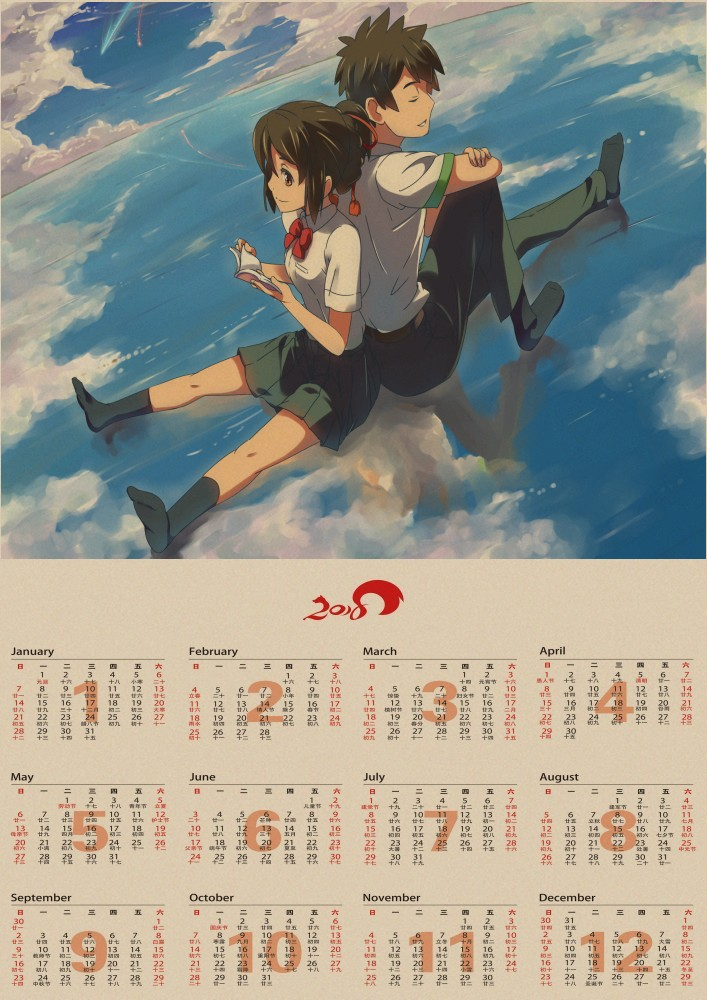 Japanese Animated Films Your Name Movie 2018 Calendar Poster Surrounding Painting Wallpaper Kraft Poster Wall Sticker In Wall Stickers From Home Garden