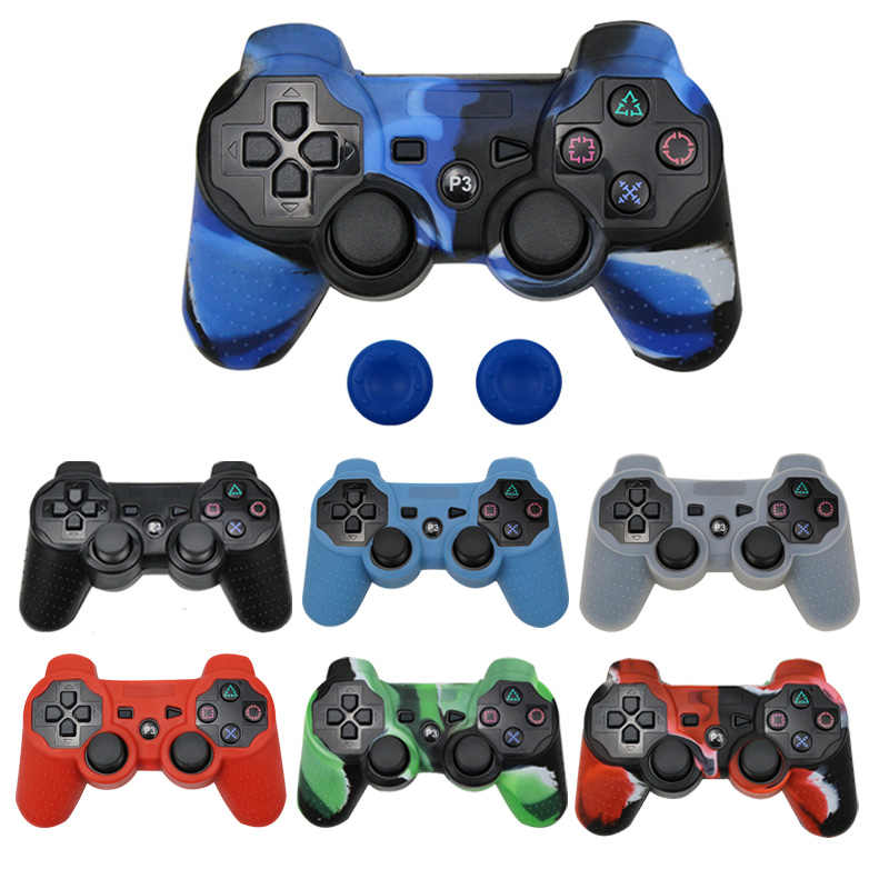 Silicone Protective Skin Case Cover for PS3 Controller Gel Skin Grip Case with 2pcs Joystick Caps