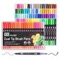100 Kleuren Dual Borstel Pen Art Markers, omvatten 2mm borstel tip en 0.4mm fijne tip voor Tekenen, Schetsen, Schilderen Water Effect