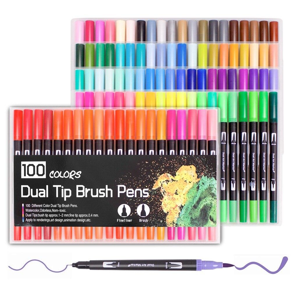 Os marcadores duplos da arte da pena da escova de 100 cores, incluem a ponta da escova de 2mm e a ponta fina de 0.4mm para o desenho, esboçando, efeito da água da pintura