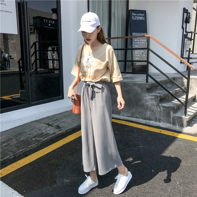 19 Women Casual Loose Wide Leg Pant Womens Elegant Fashion Preppy Style Trousers Female Pure Color Females New Palazzo Pants 39