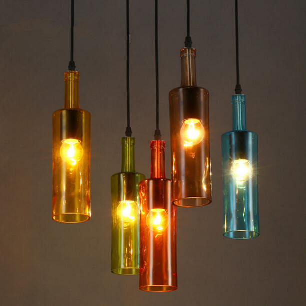 American Creative Personality Color Glass Bottle Light Cafe Bar Wine Bottle Decorative Glass Pendant Lamp Free