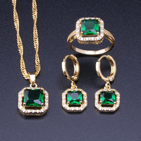 Love Monologue Charming Green Crystal Cubic Zirconia Square Yellow Gold Color Hoop Earrings Jewelry Sets For