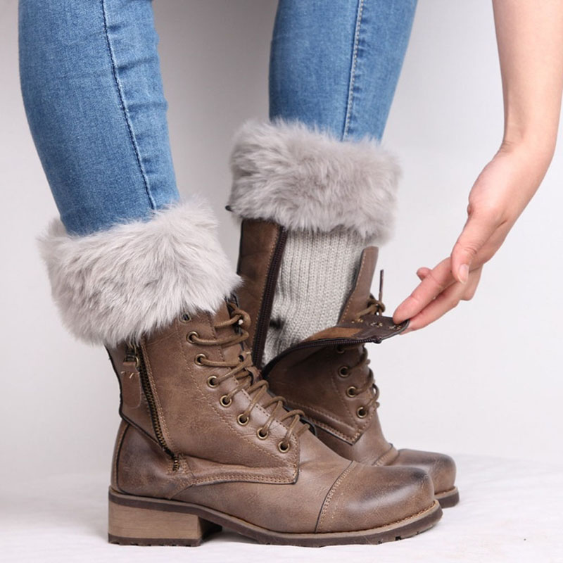 Womens Winter Warm Crochet Knit Fur Trim Leg Warmers Cuffs Toppers Boot Socks 1Pair