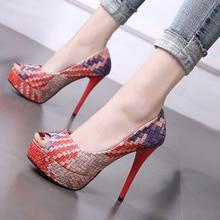 купить Women pumps fashion Colorblock platform heels elegant peep toe stiletto wedding shoes 12cm women's high heel shoes ladies shoes по цене 1653.86 рублей