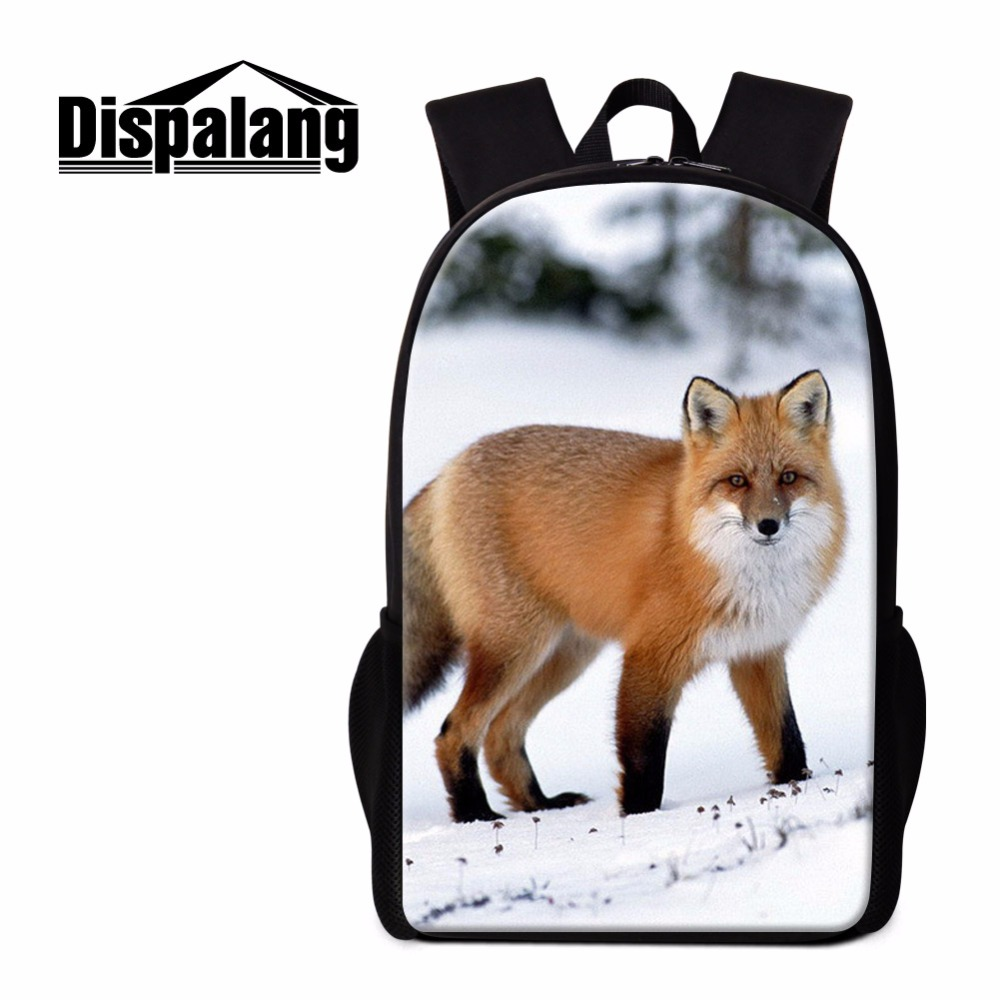 Dispalang Fox Backpack for Children Cool School Bag Casual Back Pack for Girls Animal Print Branded Bookbag Women Travel Bag