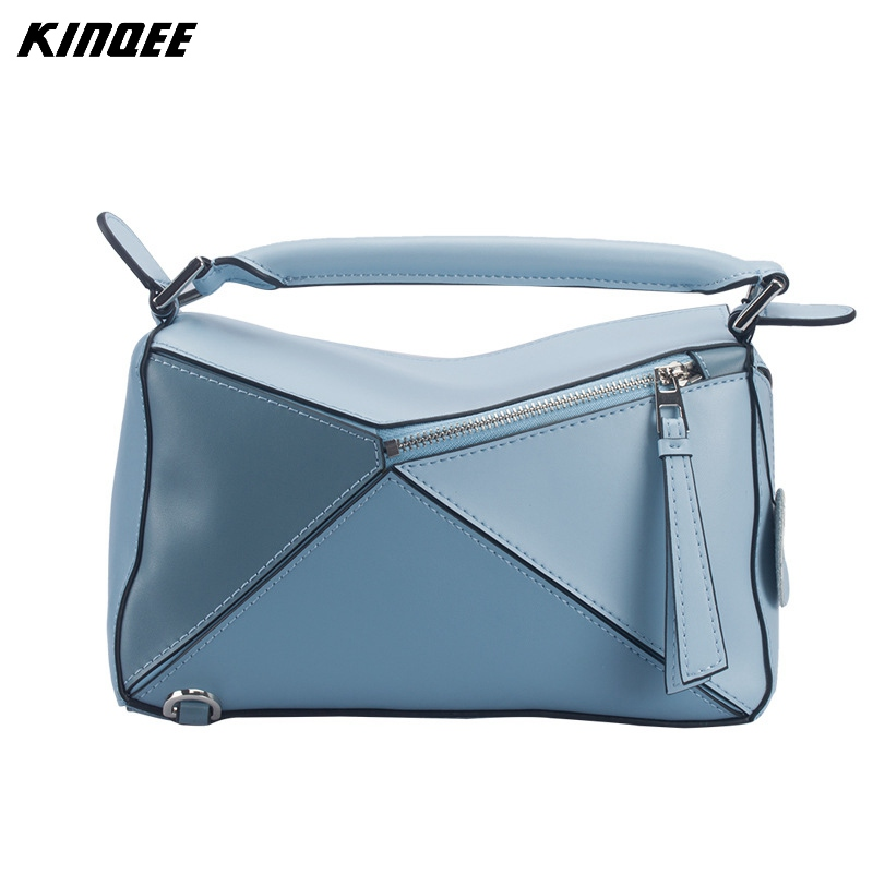 Luxury Designer Handbags Women Genuine Leather Bags Shoulder Bags Ladies Cow Leather Patchwork Colors Cotton Inside High Quality пуф patchwork colors
