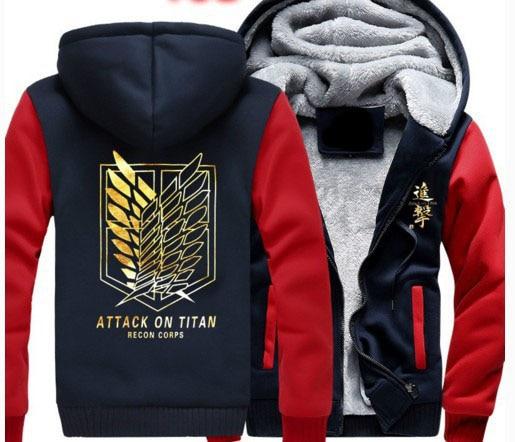 2018 Attack on titan jacket shingeki no kyojin Scratched Velvet hoodies Sweatshirt cosplay anime costume couples winter