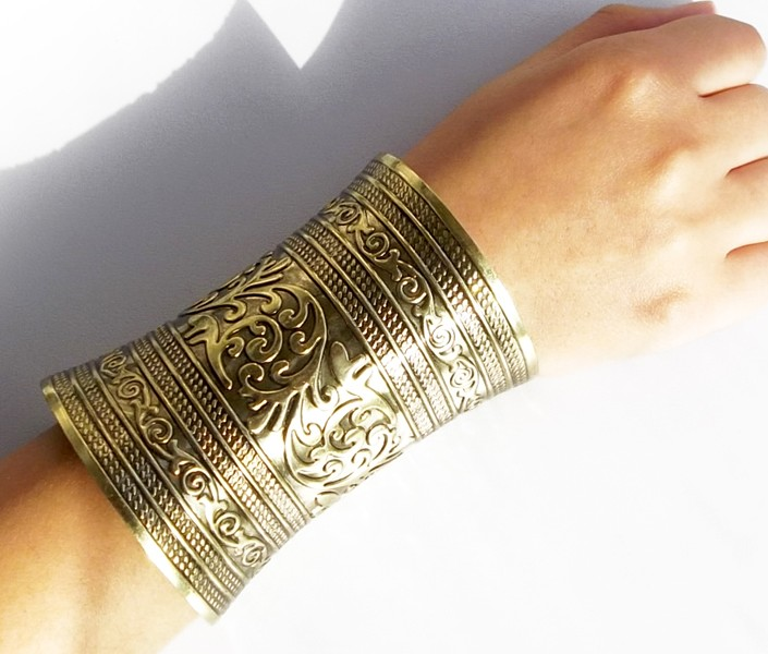 Indian Personality Bohemian Punk Gold Silver Vintage Bracelet & Bangles Women Open Cuff Bangle Ethnic Party Tribal Gypsy Jewelry