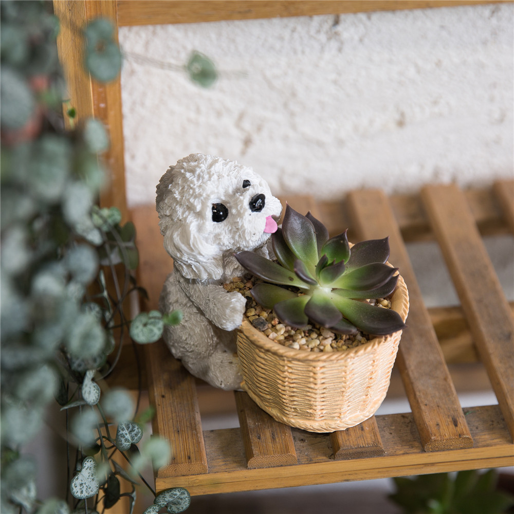 Decorative Teddy Dog Resin Flowerpot Cactu Succulent Planter Home ...