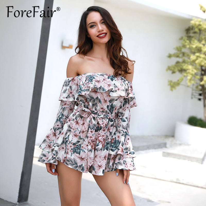 Forefair Bohemian Floral Print Ruffles Chiffon Shorts Jumpsuit Rompers Women Long Sleeve Off Shoulder Slash Neck Casual Playsuit