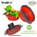 WALFOS 2 parça Mutfak aksesuarları araçları silikon Katlanabilir Mutfak Kevgir Meyve Sebze Süzgeç Drainer Çamaşır Sepeti