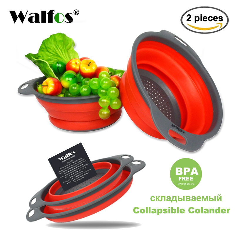 WALFOS 2 pieces Kitchen accessories tools silicone Collapsible Kitchen Colander Fruit Vegetable Strainer Drainer Washing Basket