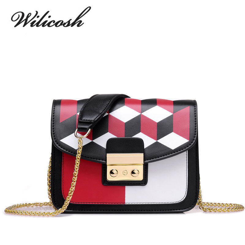 Wilicosh New 2017 Geometry Design Women PU Leather Shoulder Bag Lady Small Chain