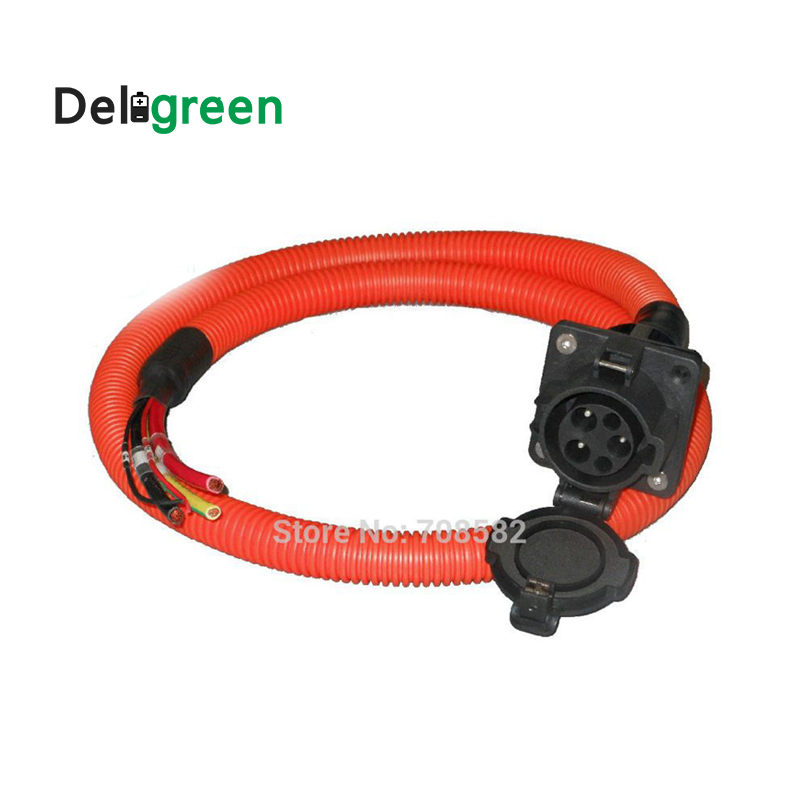 32A SAE J1772 AC inlet/socket/connector with 1m UL/TUV cable single phase for EV/Electric Car charging