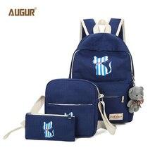 АВГУР 2017 женщин кошка печать рюкзак школьные принадлежности для девочек 3 шт./компл. случайные холст рюкзак женский Mochila Escolar PDN0264