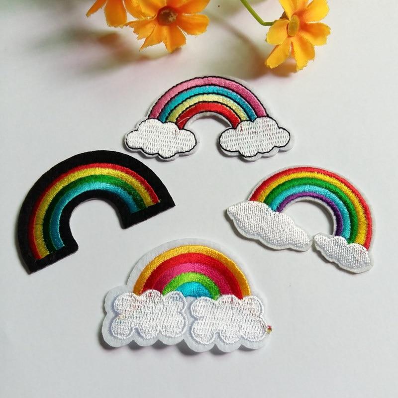√2 unids bordado Arco Iris Parches para la ropa hierro en coser ...