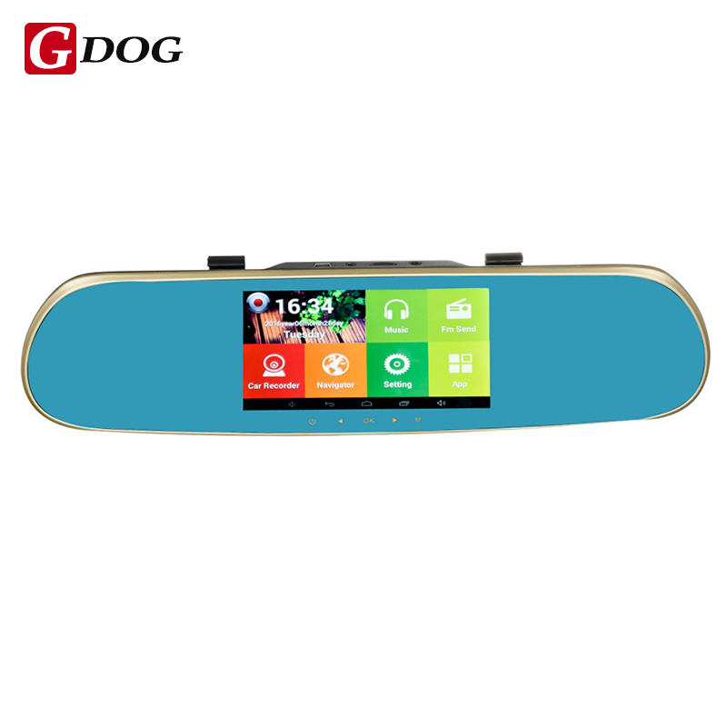 5 touch screen GPS Navigation Mirror Car DVR dual lens camera rear parking DVR android 4.4.2 1G and 16G WiFi FM Transmit