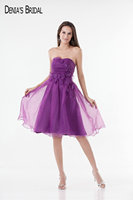 2017 Short Purple Organza Cocktail Party Dresses with Appliques Beaded Sweetheart Neckline Above Knee-Length Prom Gowns