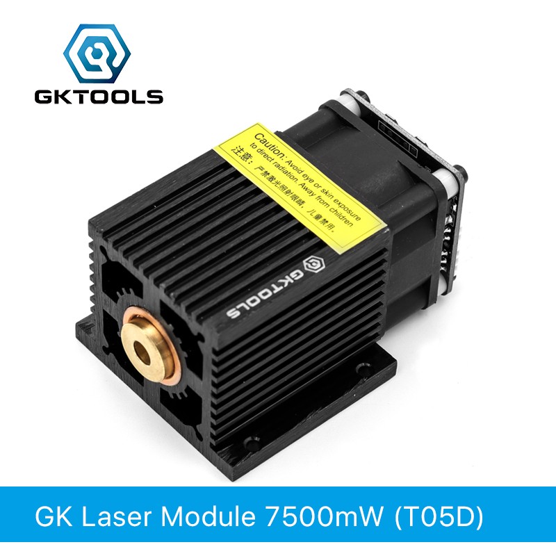 GKTOOLS 445nm 7500mW 12V Fixed Focus Laser Module Diode TTL /PWM Marking Stainless Steel DIY Laser Engraver Cutter FB05D7500mw