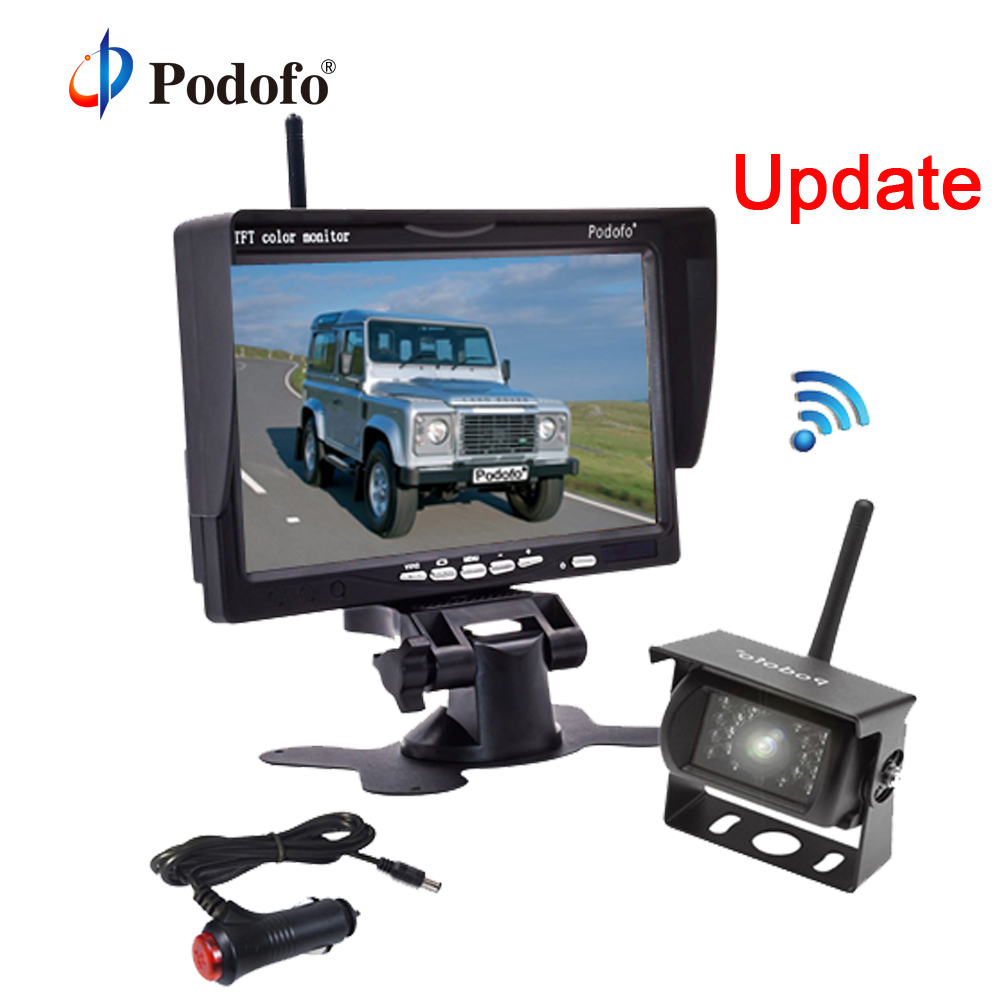 Podofo Wireless Car Reversing Backup Rear View Camera with 7 Monitor kit Parking Assistance System for RV Truck Van Caravan Bus gision 12v 24v wireless car reverse reversing backup rear view camera for trucks bus excavator caravan rv trailer with monitor