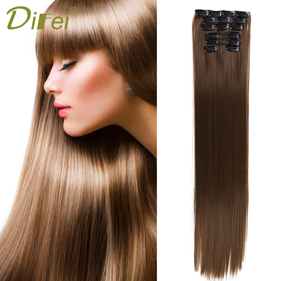 DIFEI Long Straight False Hair 16 Clips in Hair Extension 24 Inch Synthetic 12 Colors Heat Resistant Hair Extension