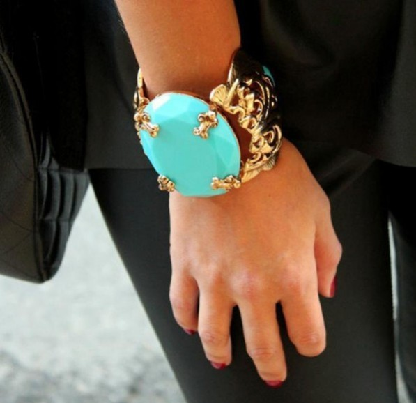 Korean Version Popular Vintage Women Gold Turquoise Cuff Bracelet for women fashion jewelry  bangles with stone  2015 new