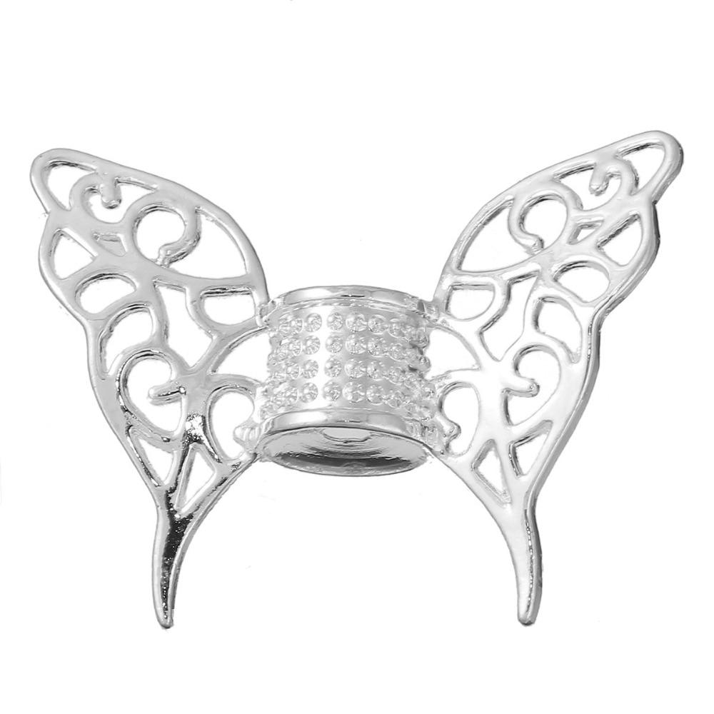8 сезонов цинковый сплав Spacer бабочка животных посеребренные крыло 47 мм (7/8 «) x 36 мм (1 3/8 «), отверстие: Приблизительно 3,7 мм, 3 шт.