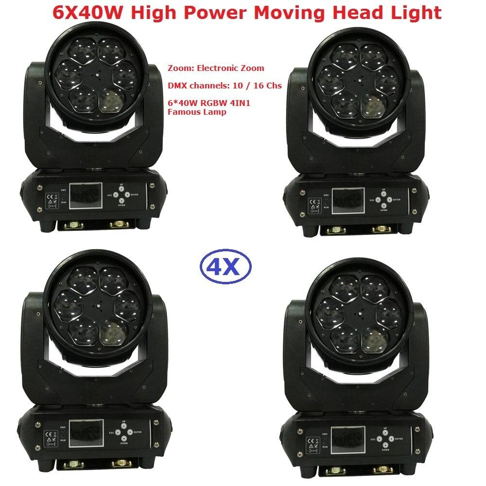 4XLot Best Price 6X40W RGBW Quad Color <font><b>LED</b></font> Bee Eyes Moving Head Light <font><b>High</b></font> Power 280W <font><b>LED</b></font> Moving Head <font><b>Beam</b></font> Lights Free Shipping