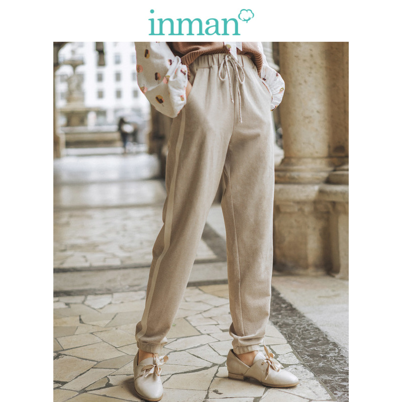 INMAN Spring Autumn Cotton Blending Elastic Waist Split Fashion Casual Women Pencil Pants