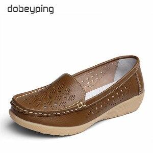 Image 3 - Туфли dobeyping женские летние из натуральной кожи, Мокасины, перфорированная подошва, лоферы, обувь на плоском ходу, Размеры 35 41