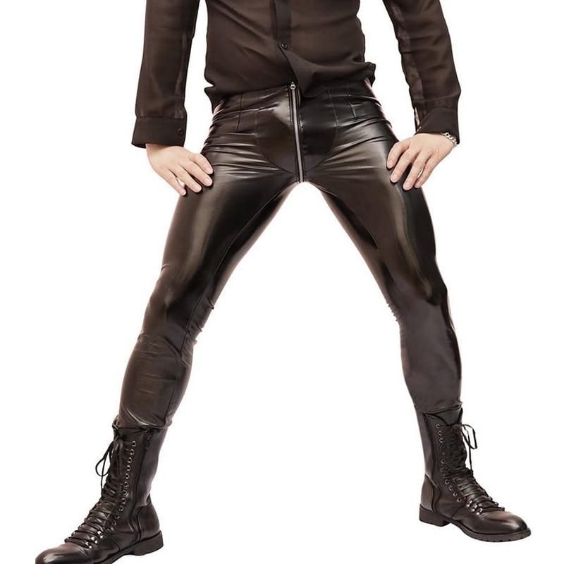 Sexy hommes Zipper ouvert U entrejambe haute élastique PVC brillant crayon pantalon mode Punk brillant Style crayon pantalon Gay porter F100