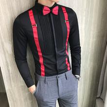 Męska koszulka Tuxedo plisowana przednia muszka pasek z długim rękawem Slim Fit męskie ubranie koszule czarne czerwone białe ślubne koszule na przyjęcia towarzyskie męskie tanie tanio MOTUWETHFR Poliester spandex Tuxedo koszule Pełna Skręcić w dół kołnierz Pojedyncze piersi REGULAR Men Tuxedo Shirts