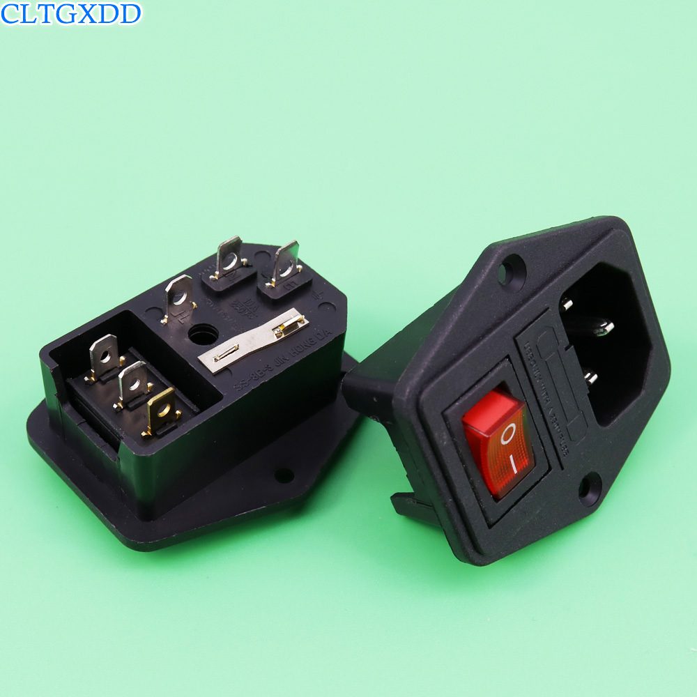 cltgxdd 10A 250V 3 Pin IEC320 C14 AC Inlet Male Plug Power Socket With Fuse Switch