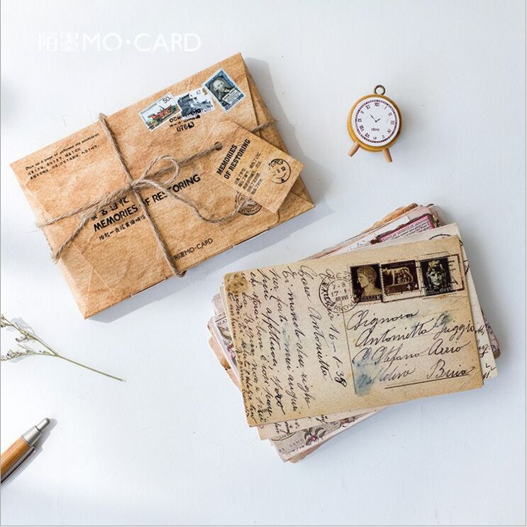 30Pcs/pack Retro memories of yellowed old letters Nostalgic Past Postcard Greeting Card Envelope Gift Birthday Card Message Card 3d laser cut pop up greeting cards happy birthday postcards vintage chic retro peacock thank you gift message cards for girl