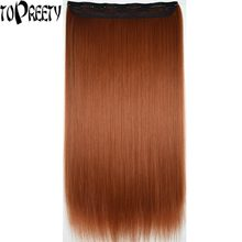 "TOPREETY Heat Resistant B5 Synthetic 28"" 70cm 130gr Silky Straight 5 clips on clip in hair Extensions(China)"
