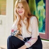 Señora camisa de lazada floja v-cuello pajarita hit color floral bordado largo manga elástica gasa blanca elegante blusa